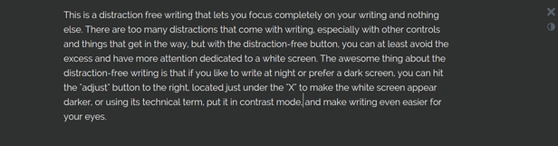 Distraction-Free Text Editor Contrast Mode